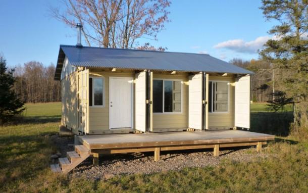 construir una casa utilizando 3 contenedores